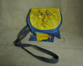 """Grichels leather belt pouch bag - """"Hiverd"""" 26359 - yellow and blue with blue fawn eyes"""