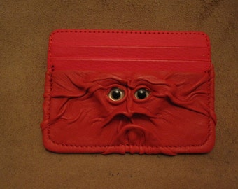 Grichels leather card wallet - red orange with custom silver eyes