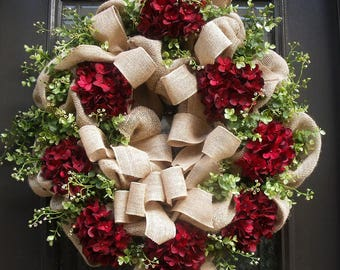 Wreaths, Hydrangea Wreaths, Summer Wreath, Burgundy Wreaths, Burlap Wreath, Summer Door Wreath, Wreaths Front Door