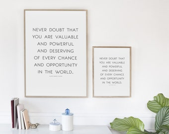 """Quote Art, Instant Digital Download """"Never Doubt"""" Quote, Hillary Clinton Quote, Benefitting Charity"""