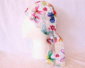 Scrub Hats for Women - Butterflies on White, Spring Colors, Tie back Surgical Scrub Cap, Operating Hat, Operating Cap