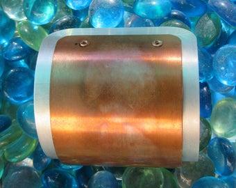 Distinctive wide copper and silver cuff bracelet