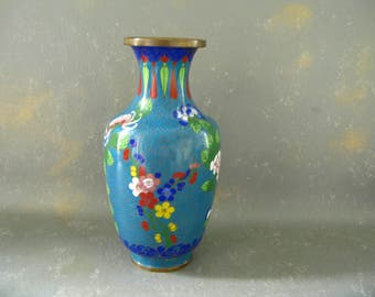 Vintage Enamel cloisonne vase, China, medium
