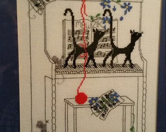 COMPLETED CROSS STITCH - Silly Snobs Black Cats