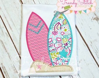 Surfboards Applique Machine Embroidery Desgn INSTANT DOWNLOAD