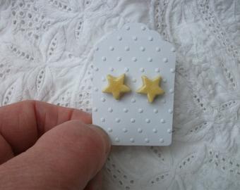Yellow ceramic star stud earrings- sterling silver
