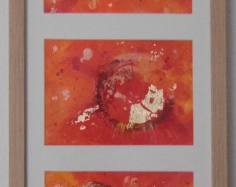Framed Abstract Art | Orange | Narrow Painting | Mounted | Ready to Hang | Gifts for her | New Age Art | Japanese Paper | Free UK P&P