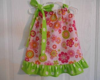 Girls pillowcase dress pink orange green flowers Easter with your choose of ruffle/tie color infant thru size 8