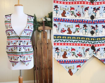 Ugly Christmas Sweater Party Vest Vintage Holiday Snowmen Moose Medium