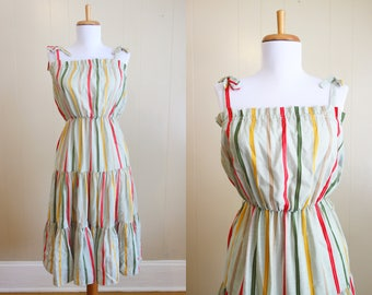 Stripe Sundress Vintage Sun Dress Striped 1980s Tiered Green Small