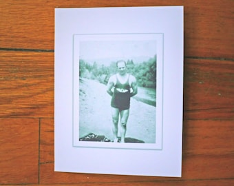 Funny Birthday Card - Hubba Hubba - Eye Candy - Vintage Photo - Black and White - Swimmer - Wrestler - Rude Cute Funny Witty Greeting Card