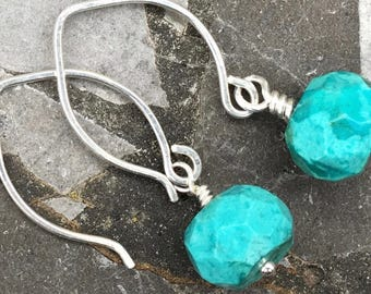Small Sterling Silver Hoop Ear Wires with Turquoise