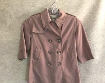 Vintage Child's Trench Coat, 1950s, brown gabardine jacket, raincoat, Vintage Childrens Coat