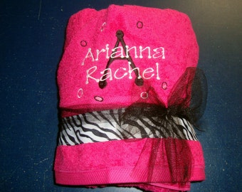 Hot Pink Hooded Towel Embroidered for the Perfect Gift -- Customize Yours With Other Colors--