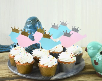 Bird Cupcake Toppers With Crowns - Choose from Baby Blue | Baby Pink | Tiffany Blue | Baby Yellow | Gold Glitter | Silver Glitter
