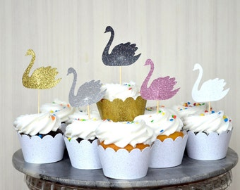 Swan Cupcake Toppers - In your choice of Gold Glitter | Silver Glitter | Baby Pink | Hot Pink | White Glitter | Black Glitter | Red Glitter