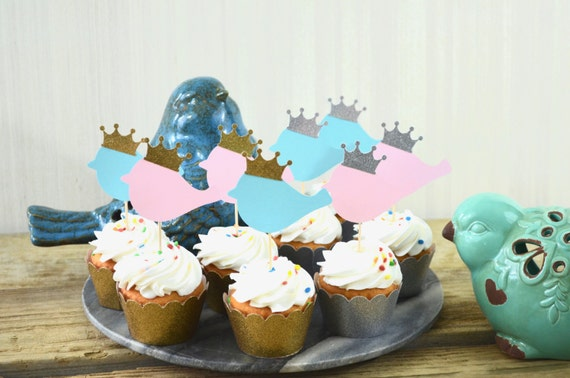 Royal Bird Cupcake Toppers - Choose Your Colors!
