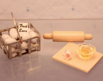 Dollhouse Basket of Eggs Miniature Food Preparation Bowl of Eggs Tiny Rolling Pin