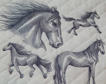 Horse Quilt Block, Embroidered Horses, Embroidered Quilt Block,  Friesian Horse Sketch, Quilt Block