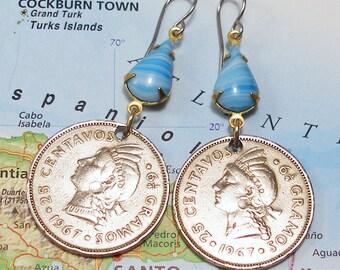 Dominican Republic, Vintage Coin Earrings - - Taino Princess - - Hispaniola - Arawak - Caribbean Islands - Recycled - Salvaged
