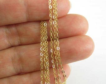 Gold plated Sterling Silver Bulk Chain,Unfinished Chains-2mm Strong Flat Cable Chain-20% OFF-WHOLESALE CHAINS-Discount-100ft-Sku: 101043-vm