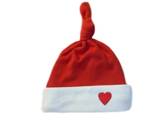 White Knotted Baby Hat with Red Heart. 7 Micro Preemie, Newborn Infants and Toddler Sizes. Perfect for the Valentine's or Any Day.