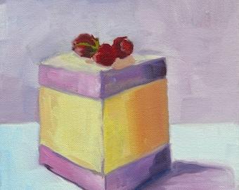 Raspberry Cake Slice Painting