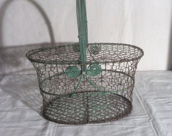 Vintage Handled Wire Basket with Great Green Paint
