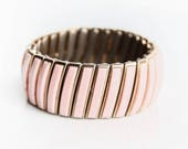 Vintage Pink and Gold Stretch Bracelet ~ Vintage Costume Jewelry ~ Retro Bracelet