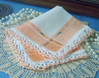 Lace Handkerchief, Hanky, Hankie, Hand Crochet, Lacy, Orange, Peach, Embroidered, Monogrammed, Personalized, Ladies,Floral, Ready to ship