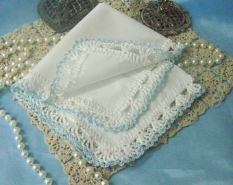 Something Blue, Bridal handkerchief, Hanky, Hankie, Hand Crochet, Lace, Ladies, Personalized, Monogram, Embroidered, Custom, Ready to ship