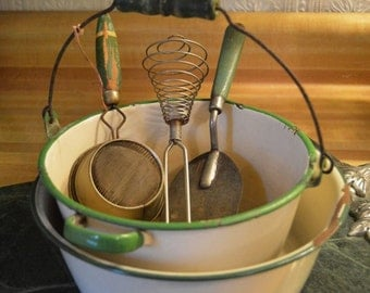 Reserved Kathy Farley 5 pc Lot Cream Green Enamelware Pot Wooden Handle Pot w Utensils Metal Strainer Egg beater Spatula Enameled Ware