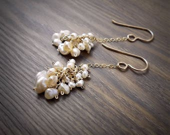 Natural Freshwater Pearl Earrings Dainty Ivory Cream Pearl Earrings Minimalist Pearl Earrings Pearl Clusters Keshi Pearls Romantic Bridal
