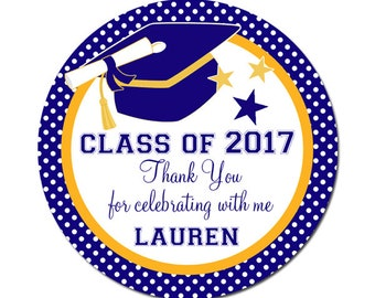 Graduation Labels Class of 2017 Custom Personalized - 100 GLOSSY Round Stickers