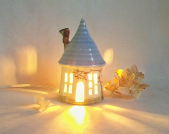 Garden Fairy House/ Night Light - with a Blue  Roof and a Chimney - Hand Made on Pottery Wheel - Hand Painted Vine - Ready to Ship