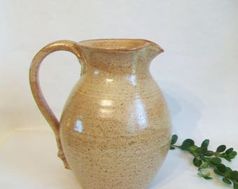 Speckled Tawny Brown Pitcher - Handmade on the Potters Wheel - Speckled Stoneware - 32 ounce  - Ready to Ship