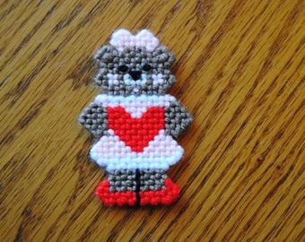 Plastic Canvas Valentine's Day Bear Refrigerator Magnet