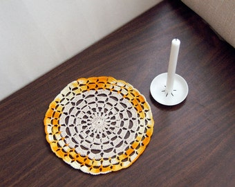 Yellow Gold Crochet Lace Doily, Table Accessory, New Home Decor, Mandala Style