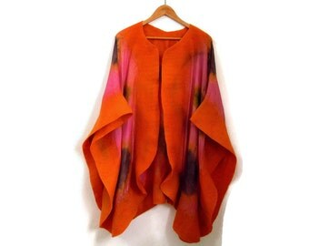 silk poncho with felted edges, hand dyed, pink orange
