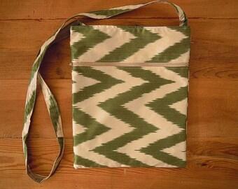 silk ikat bag, green white chevron, cross body bag