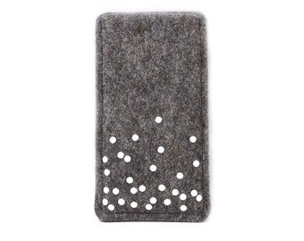 Cellphone felt with confetti dots, tailored made to measure for your Smartphone, cell phone cover made of wool felt after Maß, spotted