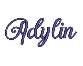 Adylin Script Embroidery Machine Monogram Alphabet Font Set 1 inch