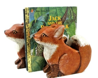 Fox Kit Bookends Hand Painted Non Toxic Nursery Decor
