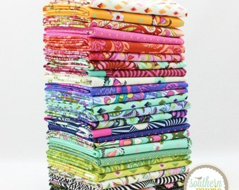 """Slow and Steady- Fat Eighth Bundle - 25 - 9""""x21"""" Cuts - Tula Pink - Free Spirit Quilt Fabric"""
