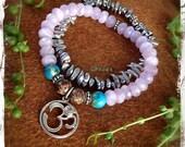 Reserved. OM Bracelet with Moonstone AMETHYST bracelet Stretch bracelet set Sterling silver jewelry gemstone bracelet YOGA jewelry GPyoga