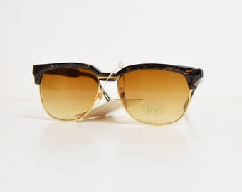 Vintage 90s Brown & Gold Gradient Clubmaster Style Sunglasses / 1990s Oversized Grunge Sunglasses