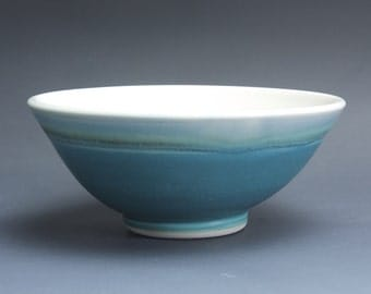 Handmade porcelain turquoise soup cereal rice ice cream bowl 2.5 cup 3759