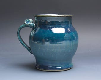 Sale - Pottery beer mug, ceramic mug, stoneware stein blue 28 oz 3861