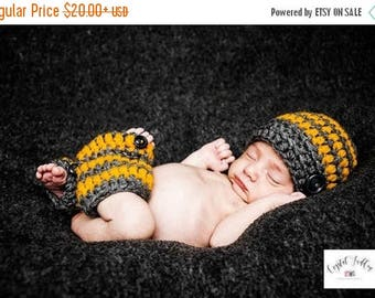 SALE 30% ON SALE Baby Boy Coming Home  Outfit_ Baby Boy Stripe Hat and Leg Warmers_Newborn Baby Hospital Outfit _Newborn Baby Photo Props