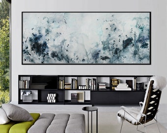 Large Abstract seascape print from painting horizontal blue white black turquoise 'spirit of the sea' 597